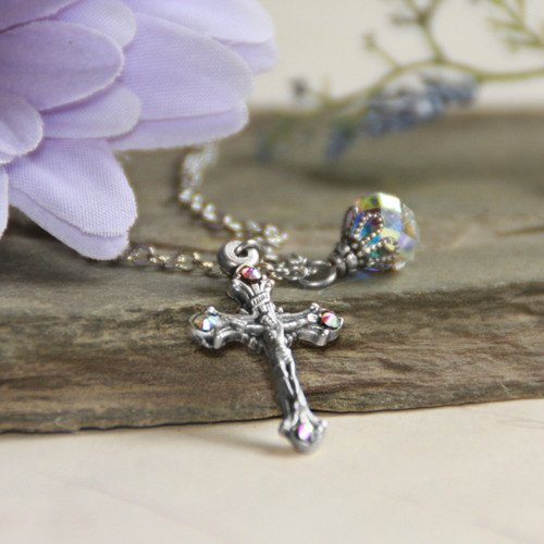 IN-573  Crucifix Necklace with a touch of Sparkle