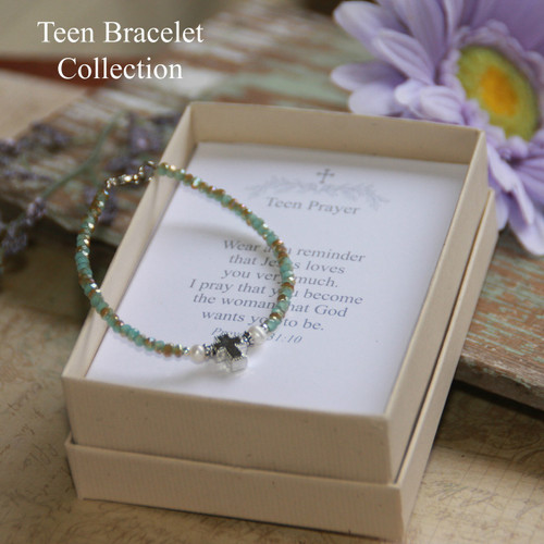 TN-4  Teen Prayer Bracelet-Seafoam (see additional colors)