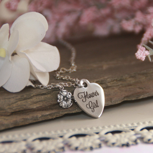 CJ-553  Flower Girl Stainless Steel Heart Necklace and can be Engraved on Backside too!