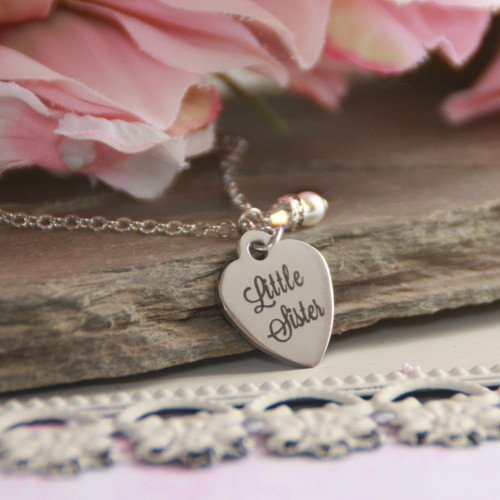 CJ-560  Little Sister Stainless Steel Heart Necklace and can be Engraved on backside too!