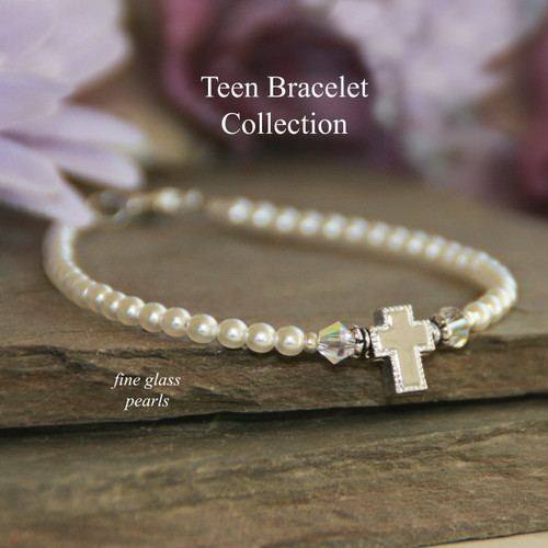 TN-6  Teen Prayer Bracelet Glass Pearl Swarovski