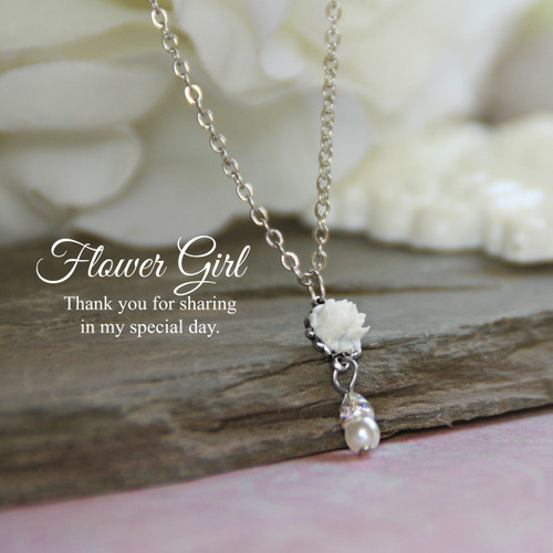 CJ-165  Flower Girl Drop Necklace with Pearl and Crystals