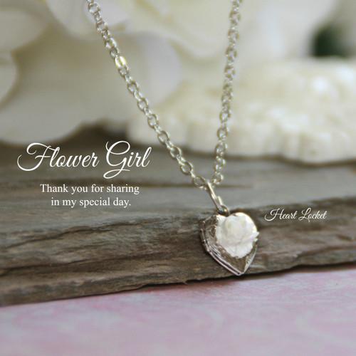 CJ-159  Flower Girl Heart Locket Necklace
