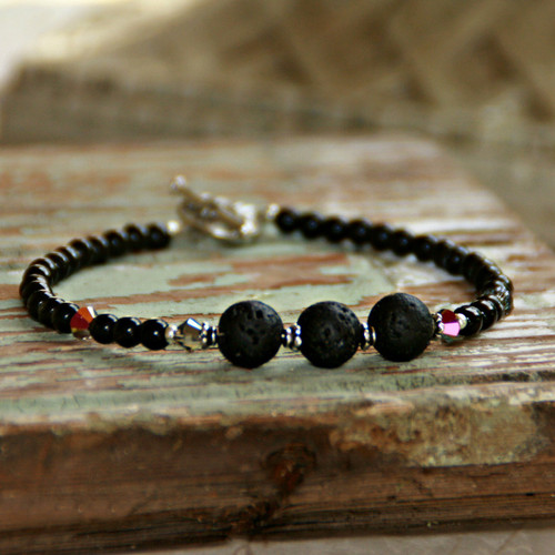 BR-34  Essential Oil Bracelet Lava Stones All Black