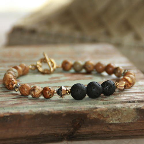 BR-31  Essential Oil Diffuser Bracelet with Landscape Jasper