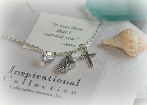 IN-409 Footprints Silver finish Necklace