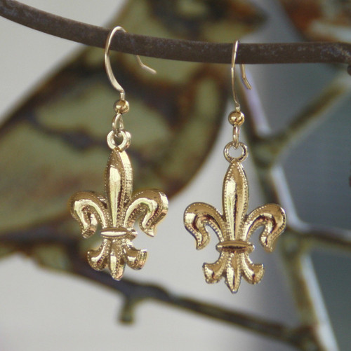 FER-100 Gold Finish Fleur de Lis Earrings