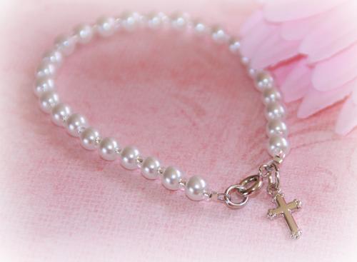 "CJ-429-6 Child Bracelet Glass Pearls 6"" Rhodium finish"
