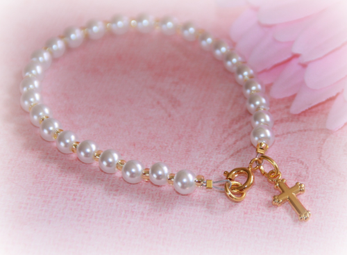 "CJ-428 Baby Bracelet Glass Pearls infant size 4 1/2"" Gold finish"
