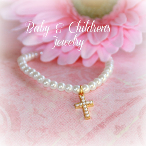"CJ-487 Child Seed Pearl Cross Bracelet 6"" Gold finish Stretchy"