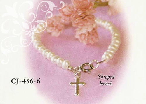 "CJ-456-6 Child Freshwater Pearl Bracelet with Rhodium Cross 6"""