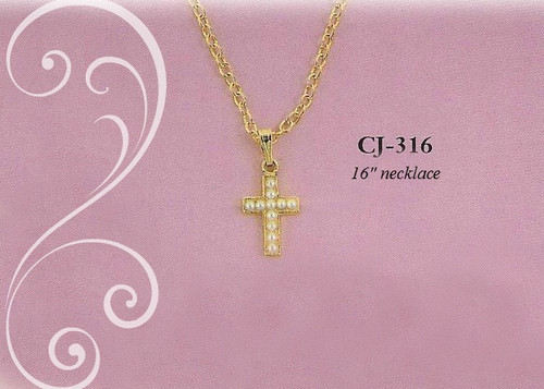CJ-316 Seed Pearl Cross Necklace Gold finish