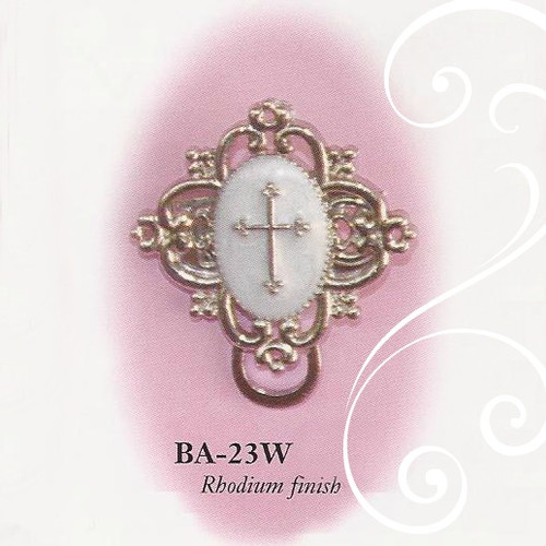 BA-23W White Enamel Cross Paci Holder