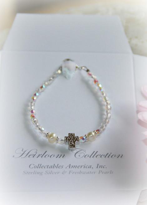 "STG-260 Baby bracelet with Rhodium Cross 5"""