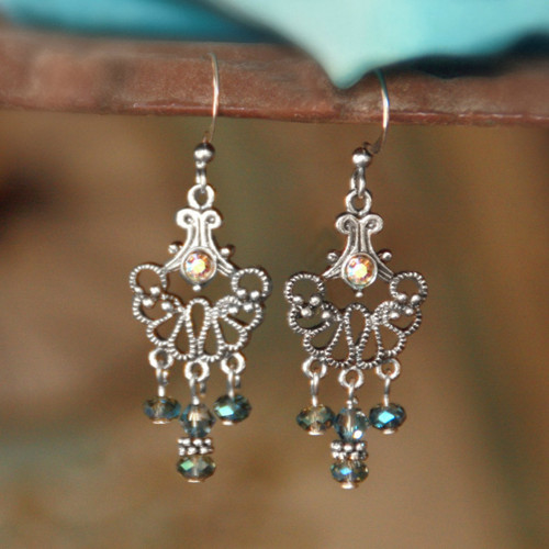 FER-376  Lacy Silvertone and Crystals Earrings