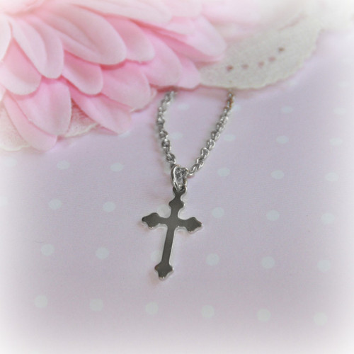 RH-38  Plain High polished Rhodium Cross Necklace