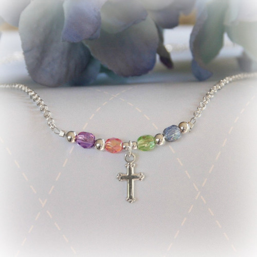 STG-94CR  Sterling Silver and Pastel Crystals Cross Necklace