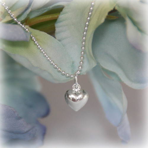 STG-42  Sterling Silver Puffed Heart Necklace