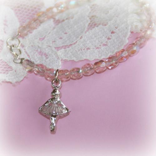 "CJ-365  Ballerina Bracelet with Pink crystals 6"""