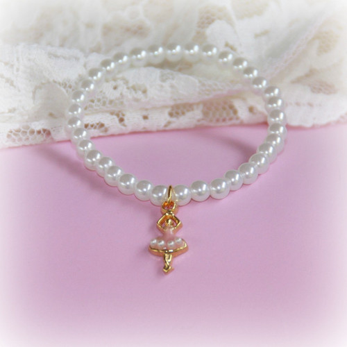 "CJ-359  Ballerina Bracelet with Tiny Pearls 6"""