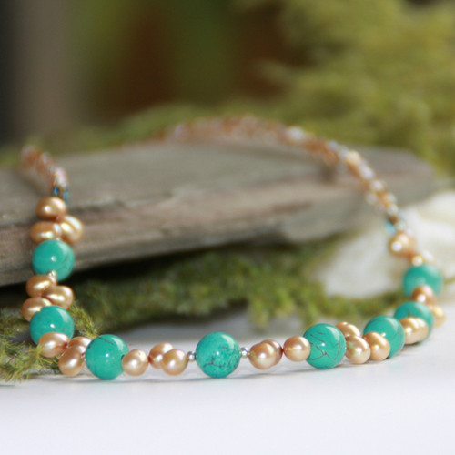 IS-95 Freshwater Pearls and Turquoise Necklace