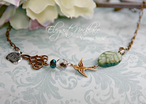 IS-589 Birds, Nature, Believe Vintage Finish Necklace