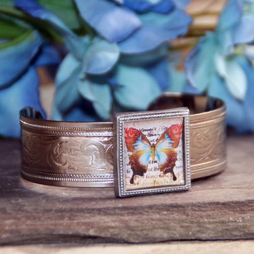 ART-129 Butterfly White gold finish ART Collection Bracelet