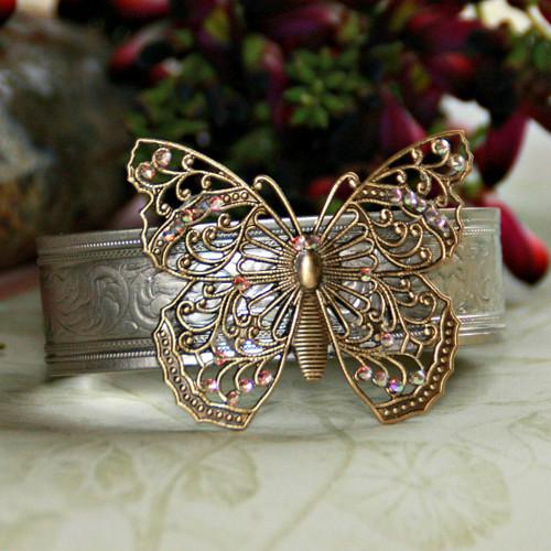 ART-131 Butterfly WOW Two-tone Swarovski Crystal Bracelet