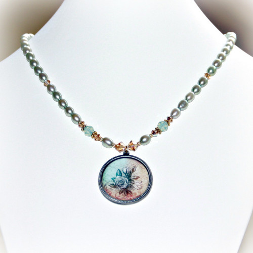 ART-214 Floral and Freshwater Pearls ART Collection Necklace