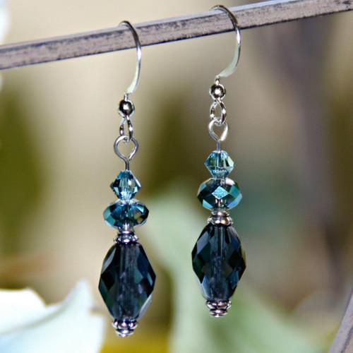 ART-211E Matching Blue Crystal drop Earrings