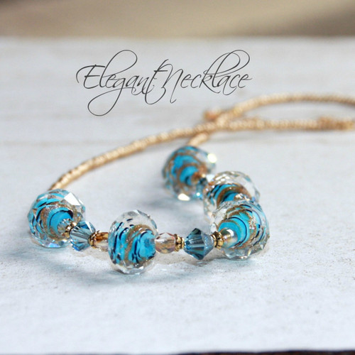 NCK-83 Lampwork Crystal Beaded Necklace