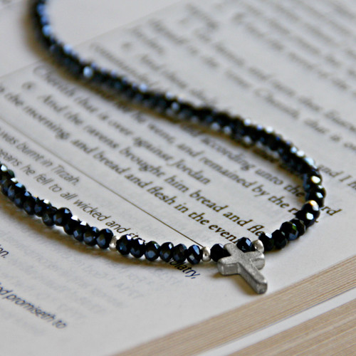 IS-668 Dainty beaded cross Necklace, Great piece! Jet crystals.