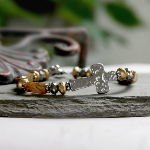 IN-114 Hammered Design Brown tones Bracelet