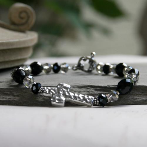 IN-115 Hammered Design Black & Platinum Bracelet