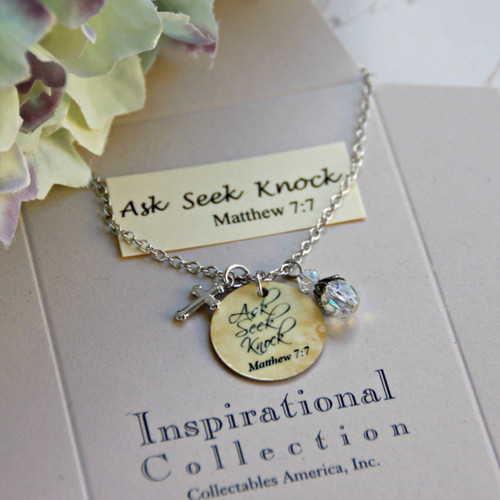 IN-484 Ask  Seek  Knock Charm Necklace