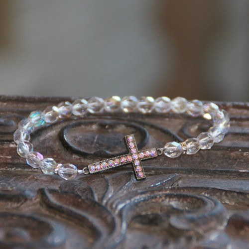 IN-102 Crystal AB Jeweled Cross Bracelet