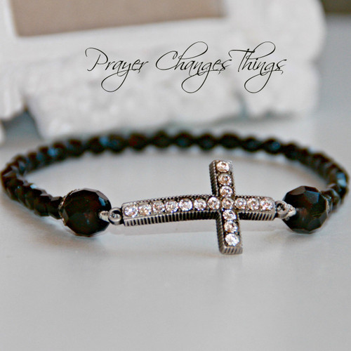 IN-105 Black and Crystal Jeweled Cross Bracelet
