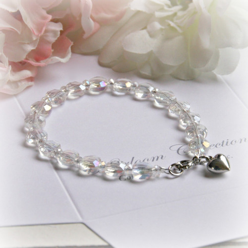 "CJ-340-6 6"" Crystal AB Child Bracelet with Puff Heart Charm"