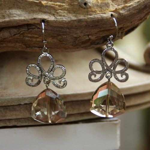 IS-635 Golden Crystals Beautiful Earrings