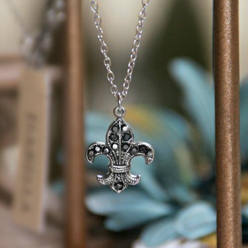 IS-284 Hematite Swarovski Embellished Fleur de Lis Necklace