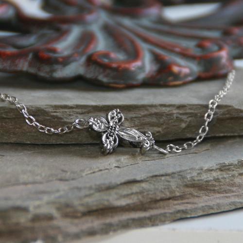 IN-497S Sideways Fancy Cross Necklace Silver Finish