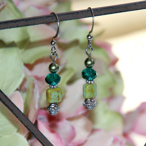 IS-419 Green Beaded Matching Earrings
