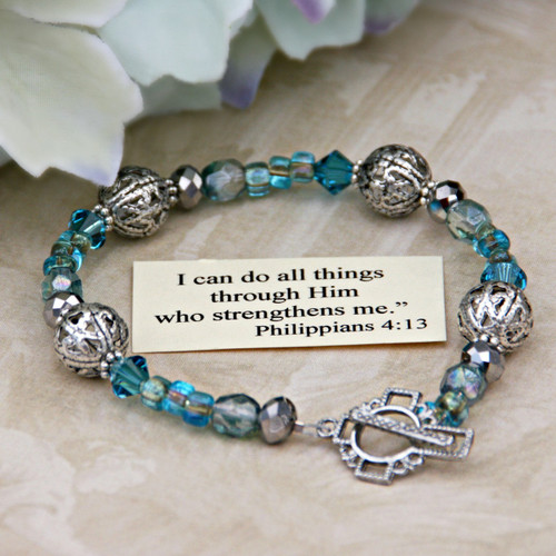 IN-122  I can do all things....Teal Crystal Bracelet