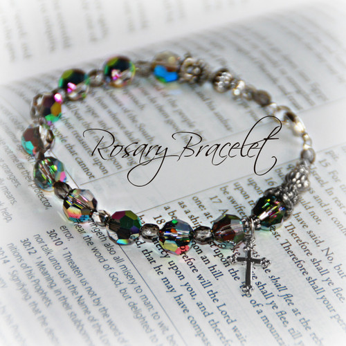 IN-128  Rosary Bracelet with Exquisite Swarovski Crystals A must have bracelet!