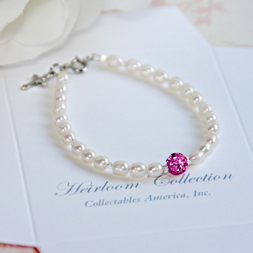 CJ-440-6  Freshwater Pearls and Crystal Pink Bead Bracelet 6 ""