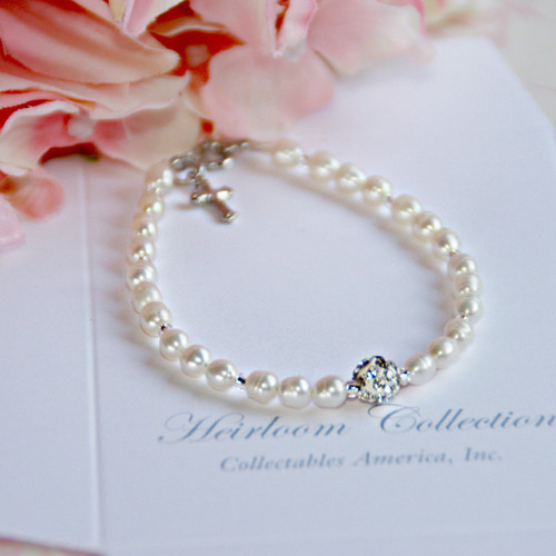 CJ-441-5 Freshwater Pearls and Crystal Bead Bracelet 5""