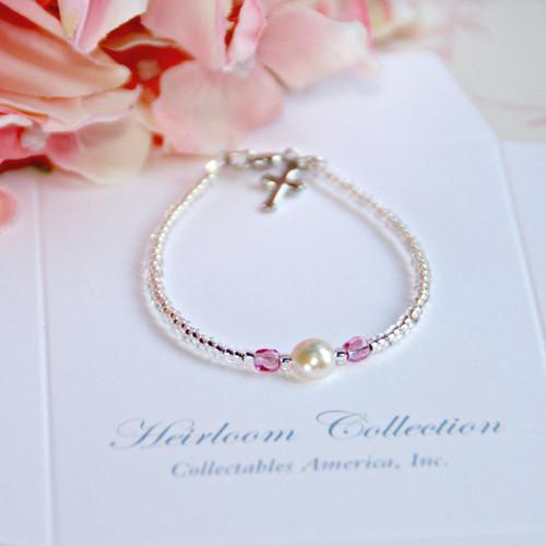 "CJ-397-4  Single Pearl and Pink Crystal Seed Bead Bracelet 4 1/2"""