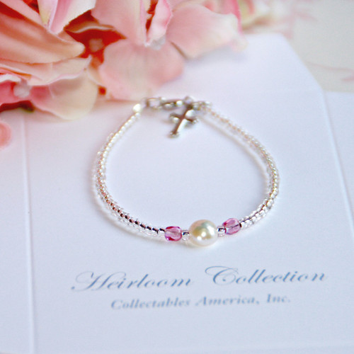 "CJ-397-5  Single Pearl and Pink Crystal Seed Bead Bracelet 5"""