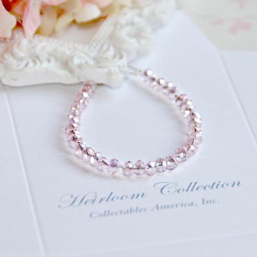 """CJ-380-5 Sparkle Soft Pink Crystal Bracelet 5"""" size Beautiful!"""