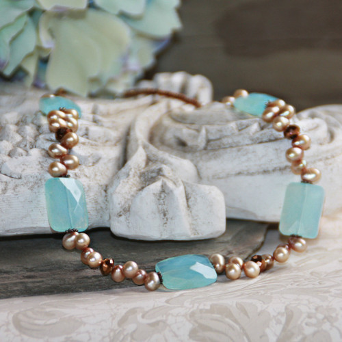IS-554  Ocean Blue and Freshwater Pearls Necklace